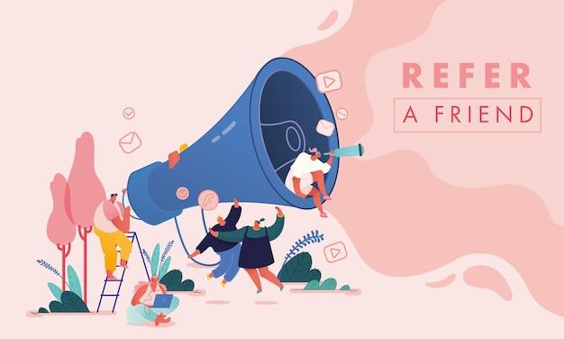 Set di uomini e donne con computer e megafono, personaggi di persone per fare riferimento a un concetto di amico. programma fedeltà di marketing referral, metodo di promozione per pagina di destinazione, modello, interfaccia utente, web, poster.