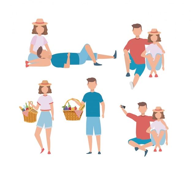 Set di uomini e donne coppia con cibo ostacolo