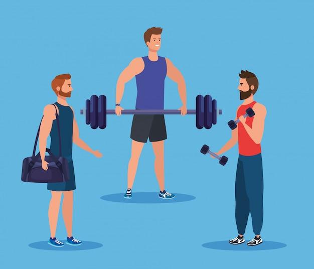 Set di uomini fitness con borsa e peso con manubri