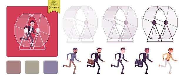 Set di uomini nella ruota del criceto