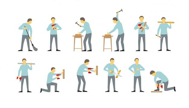 Set di uomini sono diversi occupati con il trapano. martellato con le unghie. sega l'albero.