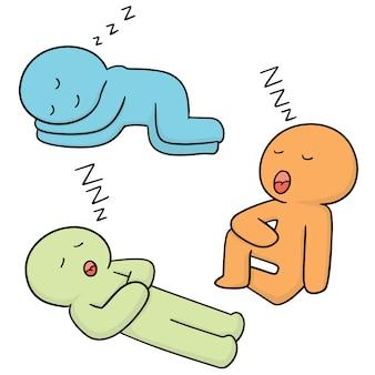 Set di uomo che dorme