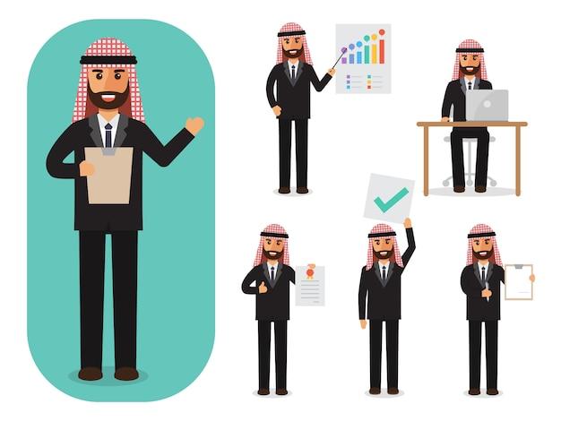 Set di uomo d'affari arabo al lavoro.