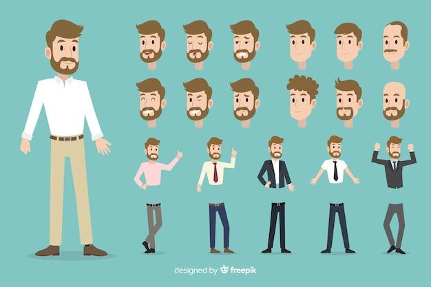 Set di uomo d'affari con diverse posizioni