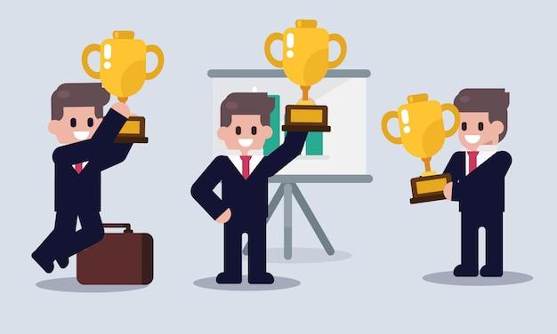 Set di uomo d'affari con la tazza di successo. carattere aziendale. illustrazione piatta