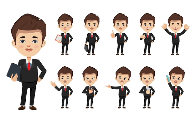 Set di uomo d'affari creazione personaggio chibi posa con lavoro di occupazione in abito uniforme.