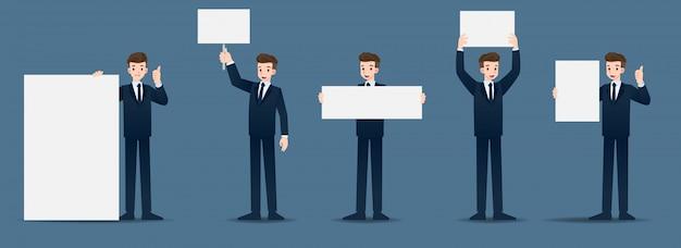 Set di uomo d'affari in 5 diversi gesti.