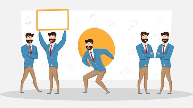Set di uomo d'affari in diverse emozioni ed espressioni.