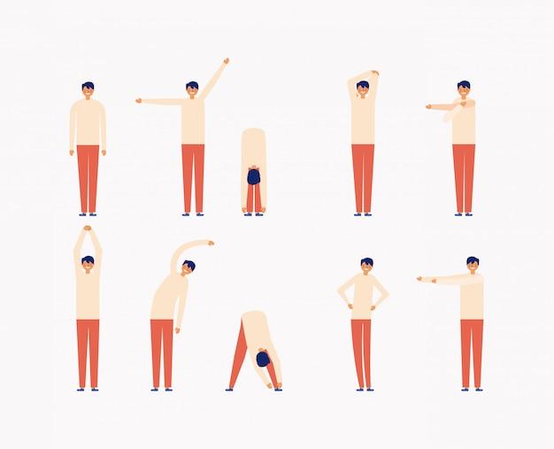 Set di uomo facendo esercizi mattutini, stile piano