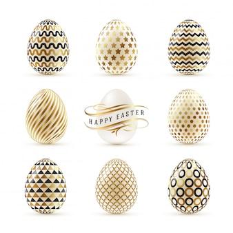 Set di uova di pasqua decorate con oro. illustrazione.