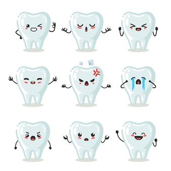 Set di uso del personaggio carino dente per illustrazione o mascotte