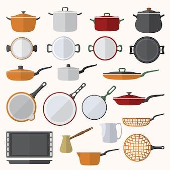 Set di utensili da cucina di design piatto colore vettoriale
