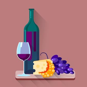 Set di uva formaggio bicchieri di vino rosso