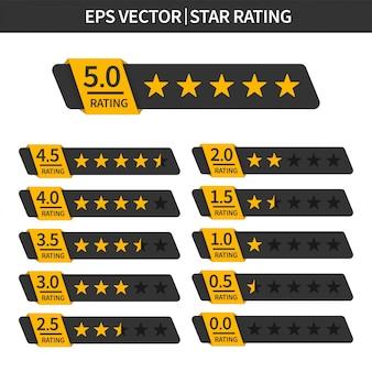 Set di valutazione a stelle. revisione del cliente con icona a stella d'oro.