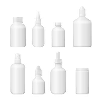 Set di vari flaconi medici per medicinali, pillole, compresse e vitamine. casella vuota medica 3d. design della confezione in plastica bianca.