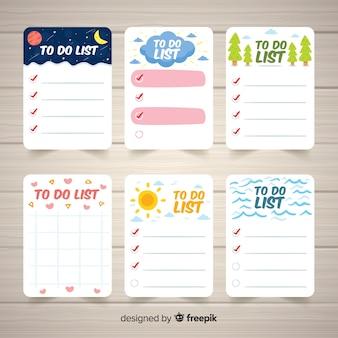 Set di varie liste di cose da fare