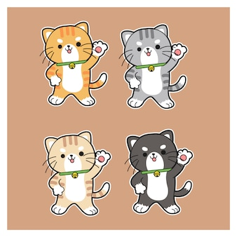 Set di varietà gatti carini