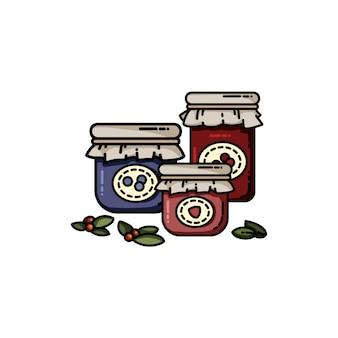 Set di vasetti di marmellata piatto colorato stile.