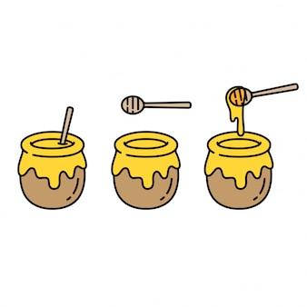Set di vasi di miele