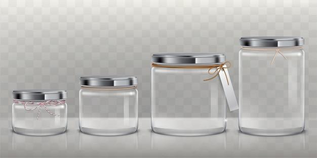 Set di vasi di vetro trasparenti vettoriali per la conservazione di prodotti alimentari, conservazione e conservazione,