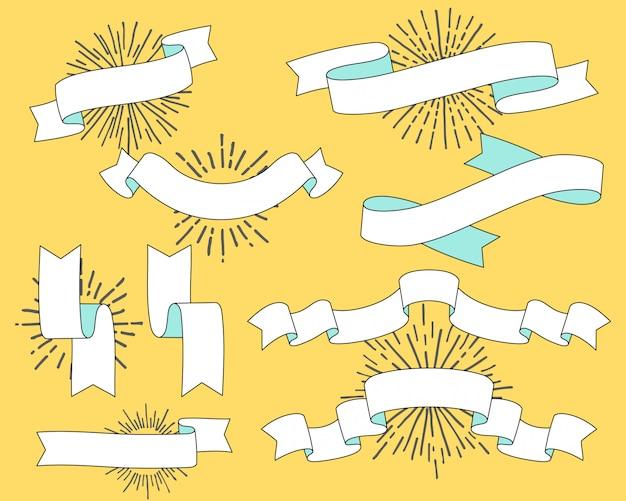 Set di vecchie bandiere del nastro dell'annata