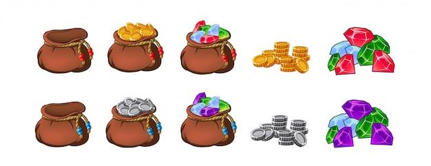 Set di vecchie borse, portamonete, vuote e piene di oro, monete, brillanti, tesori.