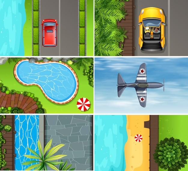 Set di veduta aerea del paesaggio