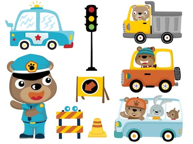 Set di veicoli con animali divertenti cartoon
