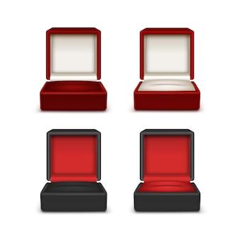 Set di velluto bianco e rosso rosso colorato vuoto aperto scatole regalo gioielli da vicino isolato su sfondo bianco