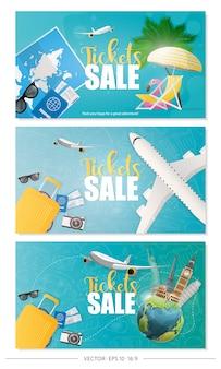 Set di vendita di biglietti poster.