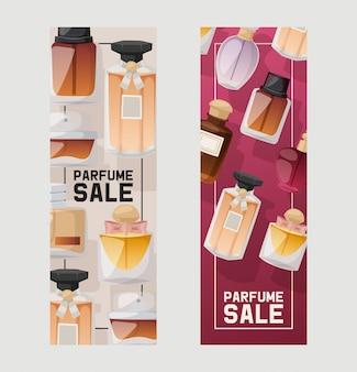 Set di vendita di bottiglie di profumo.