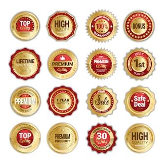 Set di vendita di distintivi dorati, qualità del prodotto e denaro indietro isolato