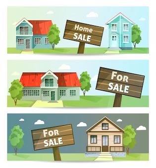 Set di vendita di proprietà di banner, affitto della casa