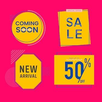 Set di vendita e promozione distintivi vettoriale