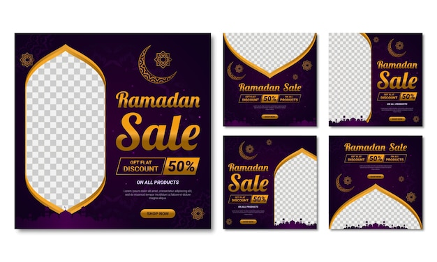 Set di vendita ramadan per i social media e post frame.