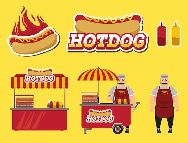 Set di venditori di hot dog
