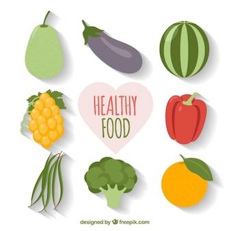 Set di verdure e cibi sani