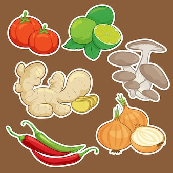 Set di verdure simpatico cartone animato