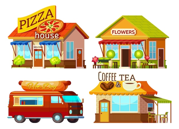 Set di vetrine dei cartoni animati