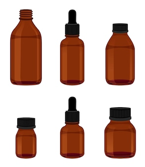 Set di vetro ambrato utile per medicine e chimica