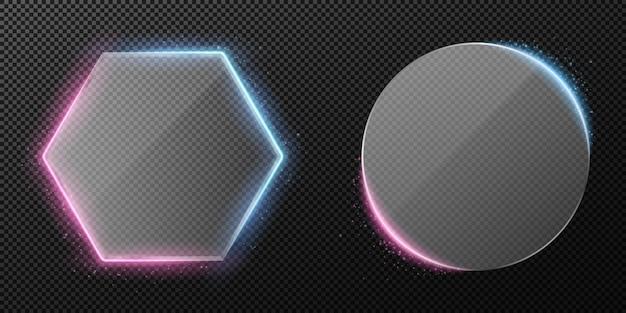 Set di vetro trasparente trasparente isolato su sfondo trasparente. retroilluminazione al neon viola e blu. volare polvere incandescente. diamante e vetro tondo.