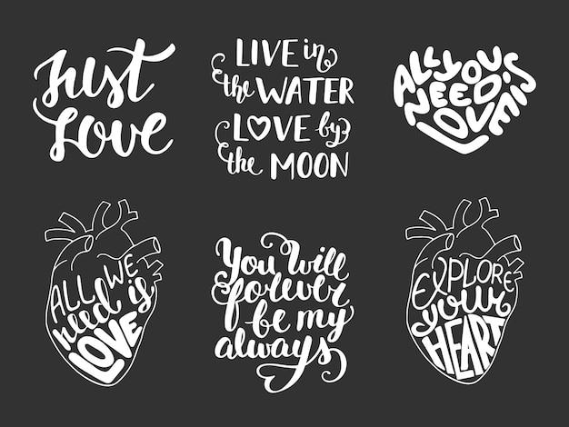 Set di vettore amore romantico lettering