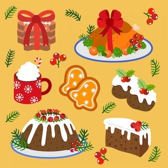 Set di vettore cibo natalizio e torta di natale.