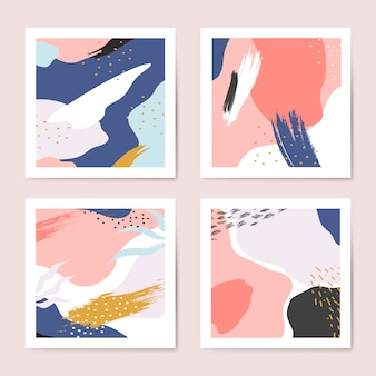 Set di vettore colorato sfondi stile memphis