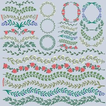 Set di vettore decorazioni floreali colorate tutte le pennelli incluse