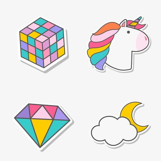 Set di vettore di adesivi magico unicorno
