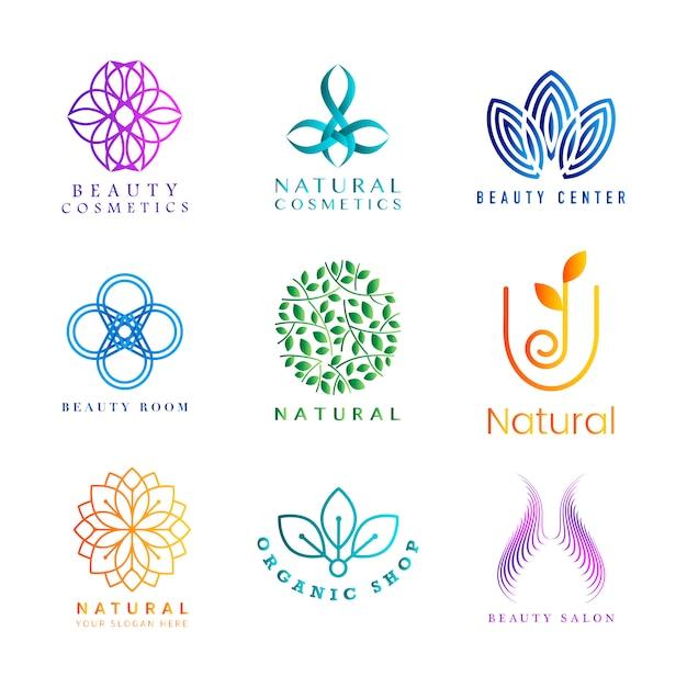 Set di vettore di logo colorato cosmetici naturali