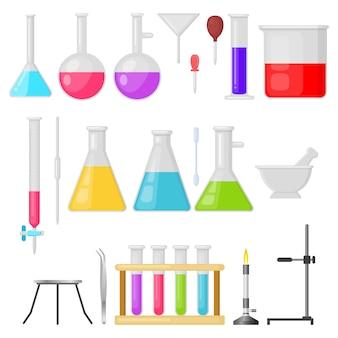 Set di vettore di vetreria di attrezzature di laboratorio
