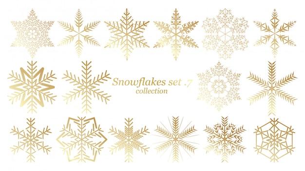 Set di vettore fiocchi di neve disegno di natale con colore oro