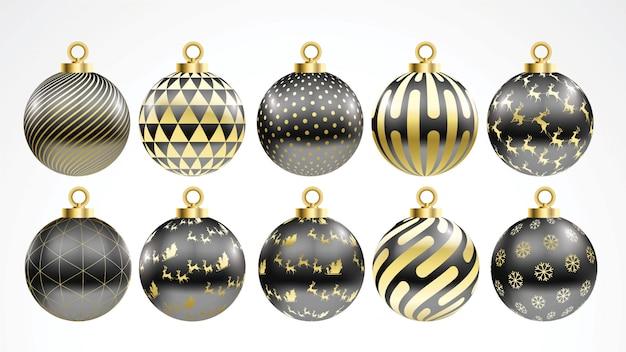 Set di vettore oro e palle di natale nero con ornamenti